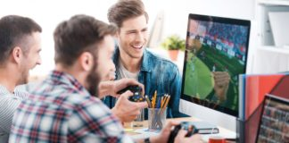three male friends playing online games