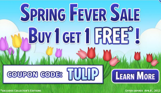 Spring fever starts at big fish games buy 1 get 1 free for Big fish games coupon